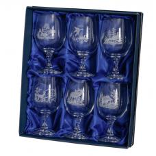 Комплект от 6 кристални чаши за вино