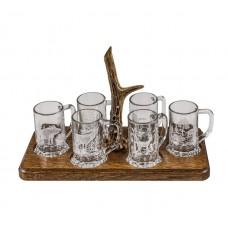 Комплект от 6 чаши за алкохол с поднос и еленов рог
