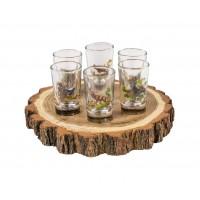 Комплект от 6 чаши за алкохол с поднос