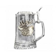 Beer Stein with deer pewter applique Fritzmann