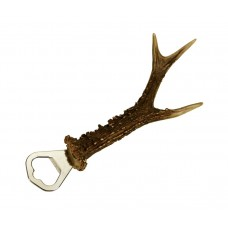 Bottle opener with roe deer antler