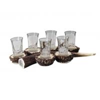 Комплект от 6 чаши за ракия с поставка от рог Fritzmann